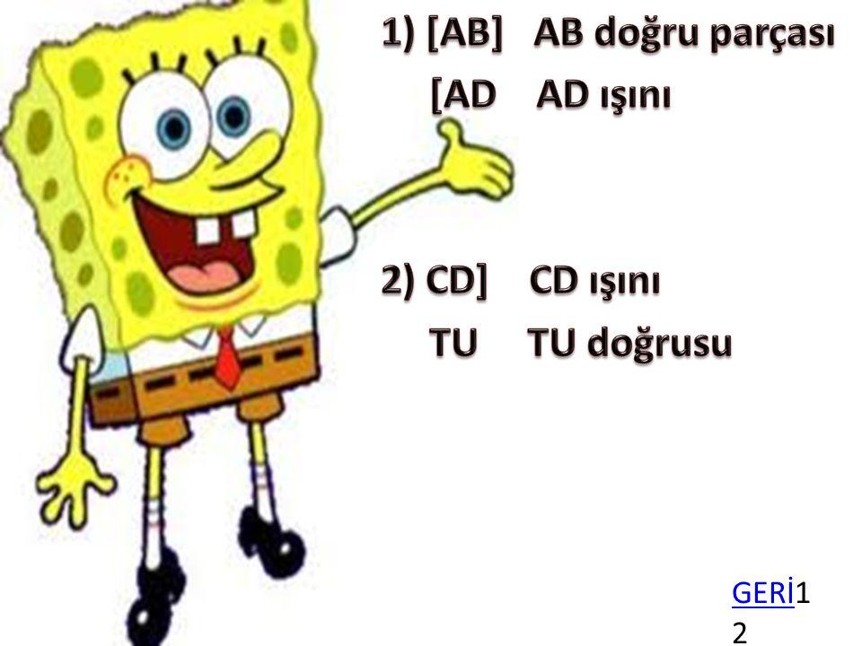 1) [AB] AB doğru parçası [AD AD ışını 2) CD] CD ışını TU TU doğrusu